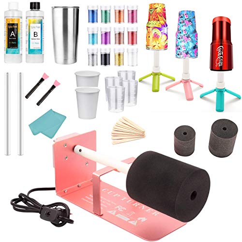 Cup Turner for Crafts Tumbler Cup Spinner Machine Kit,Cuptisserie Turner DIY Glitter Epoxy Tumblers with Silent UL Motor 2 Foams (Turner& 6.8oz Epoxy Resin)