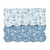 Collections Etc Floral Scroll Two-Tone with Scalloped Edges Reversible Pillow Sham, Blue, Sham