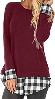 Womens Tops Women Casual Plaid Printing Patchwork Shirt Long Sleeve Tunic Tops Blouse