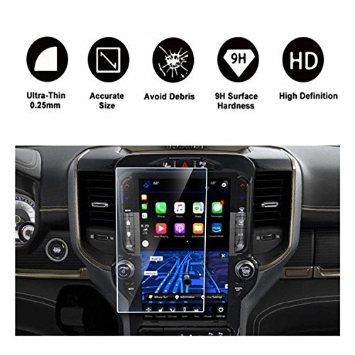 2019 2020 Dodge Ram 1500 2500 3500 Uconnect Touchscreen Car Display Navigation Screen Protector, HD Clear Tempered Glass Protective Film Against Scratch High Clarity (12 Inch)