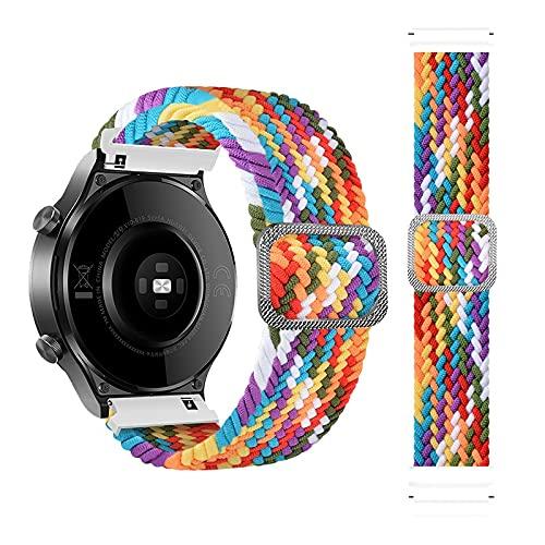 Rosok Correa de Repuesto Elástica Compatible con Samsung Galaxy Active 2 40mm 44mm/Active 40mm, Moda Transpirable, Correa de Tejer de Nylon para Galaxy Watch 3 41mm /Watch 42mm - Color del Arco Lris