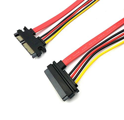 Duttek SATA Stromkabel 50CM/20 In, 22pin (7 + 15) SATA verlängerung Kabel SATA Männlich Zu Weiblich Daten und Strom Combo silmline Verlängerungskabel Verlängerung Kabel M/F