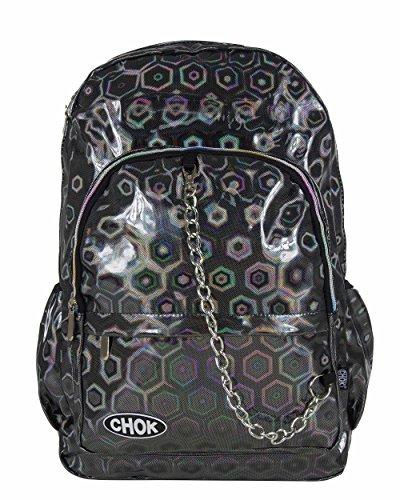 CHOK Holo Grau 3D Hologramm Rucksack Tasche mit Laptopschutz | Schule Uni Reisen | Hologramm Reflektierend Spiegel Cool Effekt