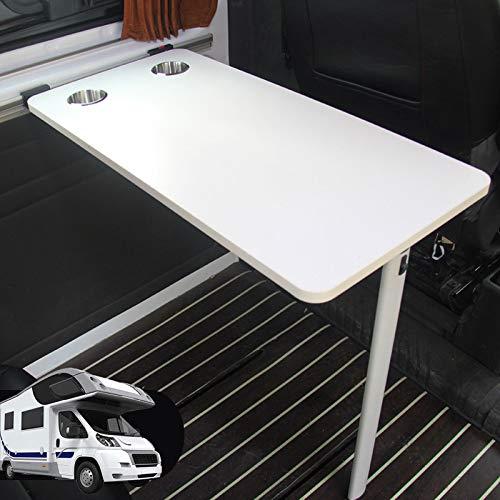 Tischplatte für Wohnwagen, Abgerundeter rechteckiger Wohnmobil-Tisch mit 2 Schalenschlitzen, Innenausstattung für Wohnmobile, Boote, Wohnwagen, Vans, Wohnmobile, 39,5 × 79,5 cm,D