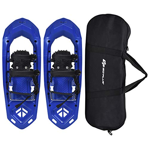 Goplus 25-inch Snowshoes for Men and Women, Lightweight Snowshoes w/Heel Lift, Adjustable Ratchet Bindings, Hard Rack Grip Teeth and Carrying Bag, Anti Slip Snow Shoes for Hiking, Climbing (Blue)