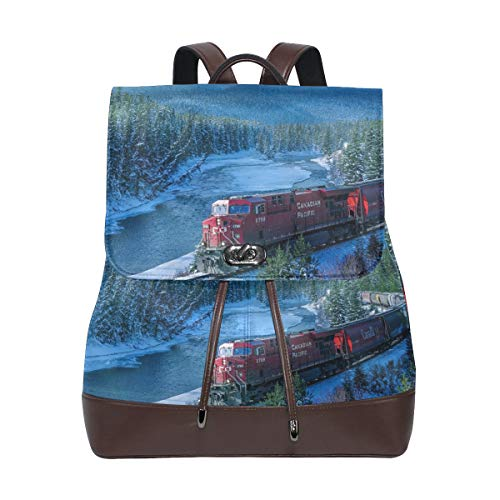 Pu Leder Rucksack dampf Zug Winter Schnee Wald Kordelzug für Reise Rucksack Daypack Casual seesack umhängetasche