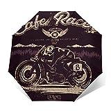 SUHETI Paraguas automático de Apertura/Cierre,Hombre Montando Cafe Racer, gráficos vectoriales para los Chicos geniales,Paraguas pequeño Plegable a Prueba de Viento