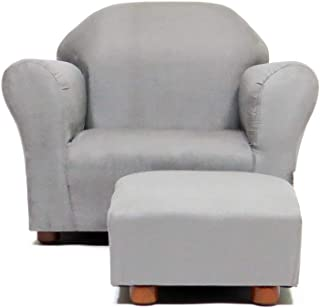 Keet Roundy Childrens Chair Microsuede with Ottoman, Grey