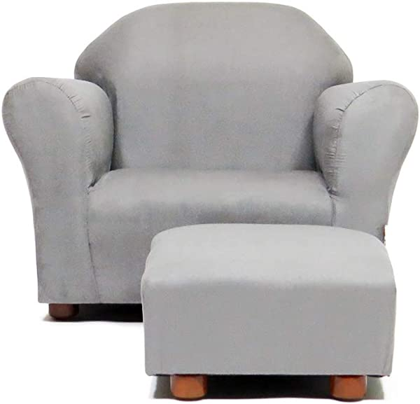 Keet Roundy Childrens Chair Microsuede With Ottoman Grey