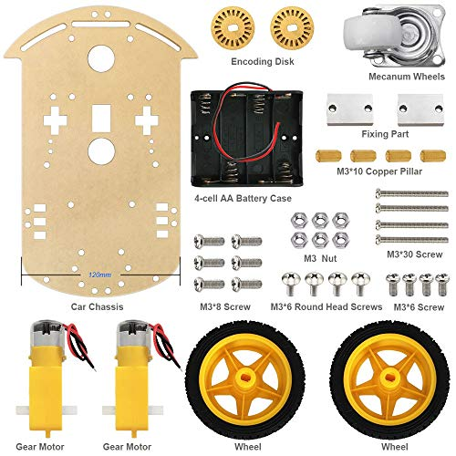 Electronic Module Outside, Impudent Robot Car 2WD Chassis Kit with Supersonic Module Durable Power Converter