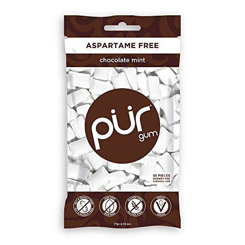 PUR 100% Xylitol Chewing Gum, Sugarless Chocolate Mint, Sugar Free + Aspartame Free + Gluten Free, Vegan & Keto Friendly - Healthy, Low Carb, Simply Pure Natural Flavoured Gum, 55 Pieces (Pack of 1)