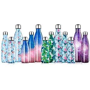 immagine di lalafancy Bottiglia Acqua in Acciaio Inox, Borraccia Sportiva Borracce Termiche Isolamento Sottovuoto a Doppia Parete per 24 Ore Fredde & 12 Calde, Senza BPA - 350ml/500ml/750ml