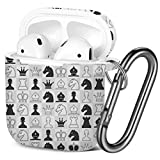 [ Compatible with AirPods 2 and 1 ] Shockproof Soft TPU Gel Case Cover with Keychain Carabiner for Apple AirPods (Chess Pieces)
