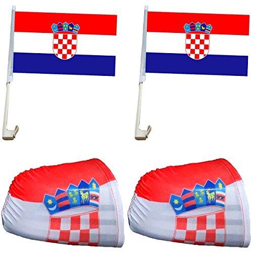 Sonia Originelli Auto Fanpaket Fahne Bikini Öhrchen Car Flaggen WM EM Farbe Kroatien