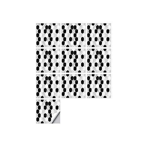 Byrhgood 10 PCS SIMULACIÓN 3D Auto Adhesivo Vinilo Papel Pantalón Peel and Stick Decorativo Calcomanías Impermeable Baño Mosaico Mosaico Pegatina (Color : FDJ006, Size : 20cmX20cmX10pcs)