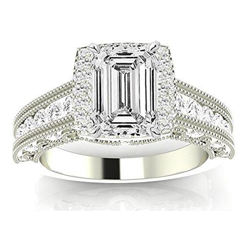 1.25 Carat 14K White Gold Vintage Halo Style Channel Set Round Brilliant Emerald Cut Diamond Engagement Ring Milgrain (D Color SI1 Clarity Center Stones) (Platinum D-shape Wedding Ring)