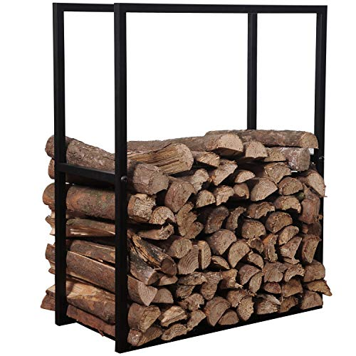 MyGift 30-Inch Black Metal Powder Coated Firewood Holder Rack/Indoor & Outdoor Fireplace Log Storage Bin