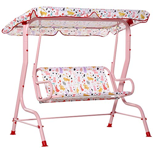 Outsunny 2-Seat Kids Canopy Swing Chair Toddler...