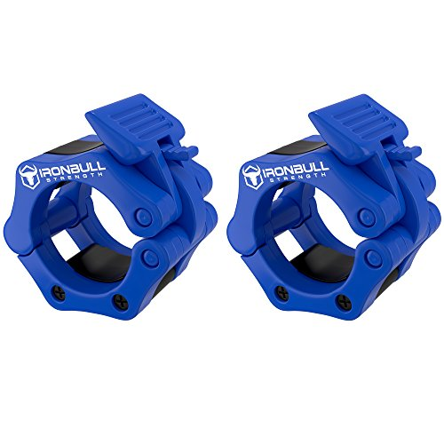 Barbell Collars (Pair) – Locking 2' Olympic Size Weight Clamps - Quick Release Collar Clips – Bar Clamps Great for Weight Lifting, Olympic Lifts and Strength Training (Blue)
