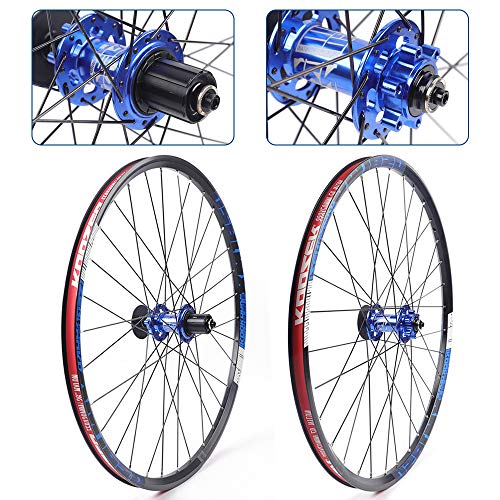 TBVECHI MTB Alloy Wheels 26inch 650B Inner Rim Width 19mm Aluminium Mountain Clincher Bike Wheelset (Black red)