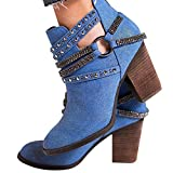Women's Rhinestone Denim Ankle Booties Trendy Zipper Stacked Chunky Block Heels Short Boots V Cut Combat Style Western Shoes (Blue, US 6.5-7/CN 37)