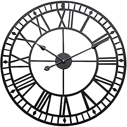 HongLianRiven Reloj de Pared Reloj de Pared de Metal Iron Silent Non-Ticking Números Romanos Romanos Relojes Redondos para Sala de Estar Reloj de Pared Grande Decoraciones para el hogar