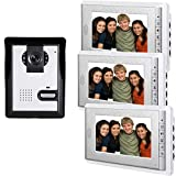 AMOCAM Wired Video Intercom Doorbell System, 3PCS 7-Inches LCD Monitor Video Door Phone Bell Kits, Support Monitoring, Unlock, Dual-way Door Intercom, IR Night Vision