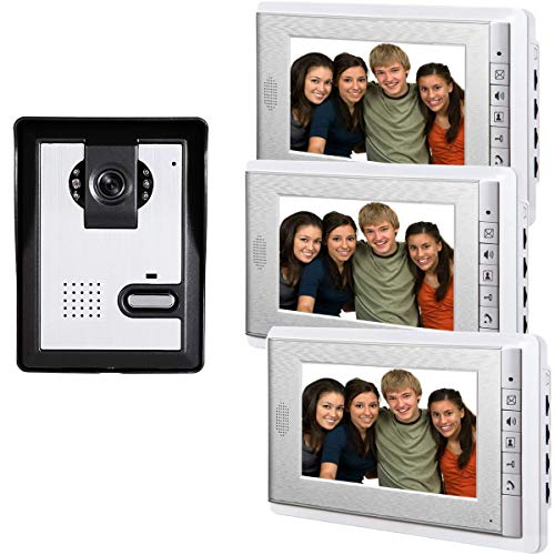 AMOCAM Wired Video Intercom Doorbell System, 3PCS 7-Inches LCD Monitor Video Door Phone Bell Kits, Support Monitoring, Unlock, Dual-way Door Intercom, IR Night Vision