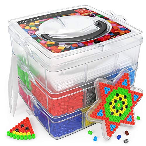 ARTEZA Bügelperlen, 5mm, 10.000 Stück, Steckperlen in 12 bunten Farben, 5 Steckplatten, 2 Pinzetten & 5 Wiederverwendbare Bügelpapiere, 3-Stöckiger Behälter, Fuse Bead-Set, zum Basteln