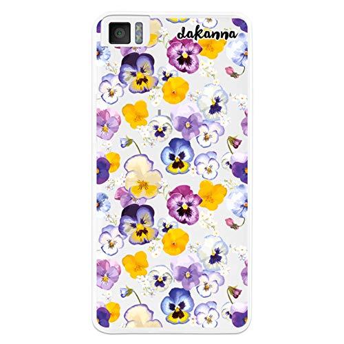 dakanna Kompatibel mit [Bq Aquaris M4.5 - A4.5] Flexible Silikon-Handy-Hülle [Transparenter Hintergr&] Veilchen Violas Blumenmuster Design, TPU Hülle Cover Schutzhülle für Dein Smartphone