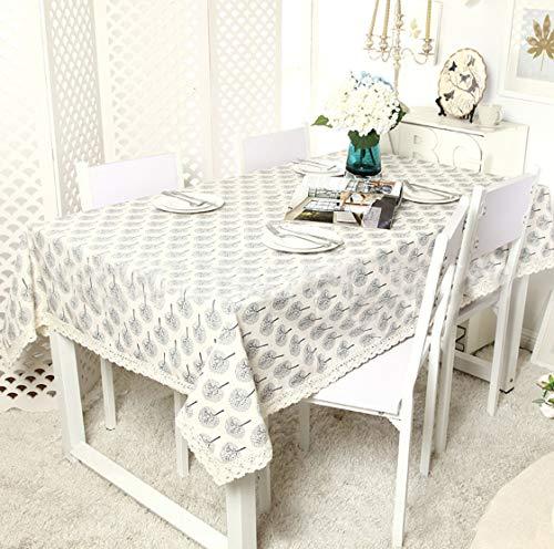 Unique HM&LN Tischdecke Baumwolle Leinen Wasserdicht Dekoration Tischtuch waschbare Küchentischabdeckung für Speisetisch Leinenoptik Tischdecke Wasserabweisend Tischwäsche (140 x 140 cm)