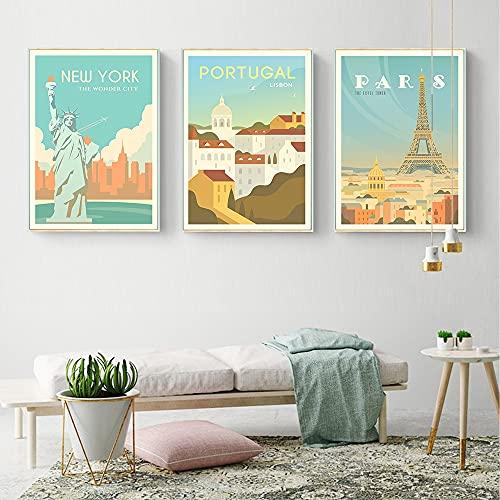 PEEKEON Yosemite New York Washington Francia Portugal Paris San Francisco Póster Poster Poster Prints Nordic Style Wall Art Picture Decoración del hogar 16x24x3 inch Sin marco
