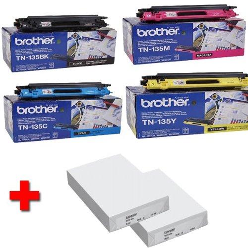 Brother MFC-9840CDW Original Tonerkit (TN-135) TN-135BK / TN-135C / TN135-Y / TN-135M + 2 x 500 Blatt DIN A4 - Laserpapier 80g/m²