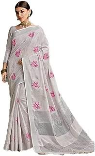 Women's Party Wear Cotton Linen Saree with Embroidery Work Silk Saree Art Cotton Sari 07 Pink