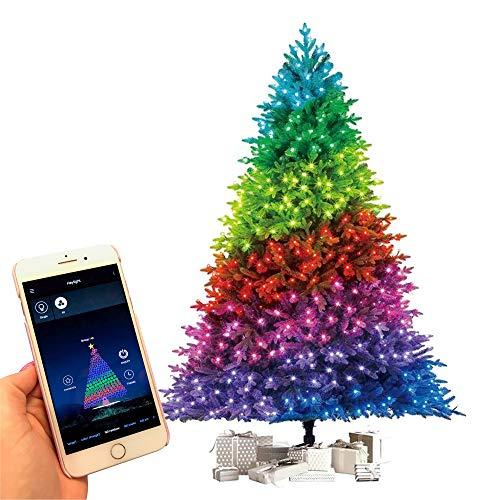 FlinQ Bluetooth Weihnachtsbaum Lichterkette App Gesteuert - RGB Led Weihnachtsbaumbeleuchtung mit Timer - 160 Bunte Christmas Lights für Innen und Außen - IP44 Wetterfest - 19M