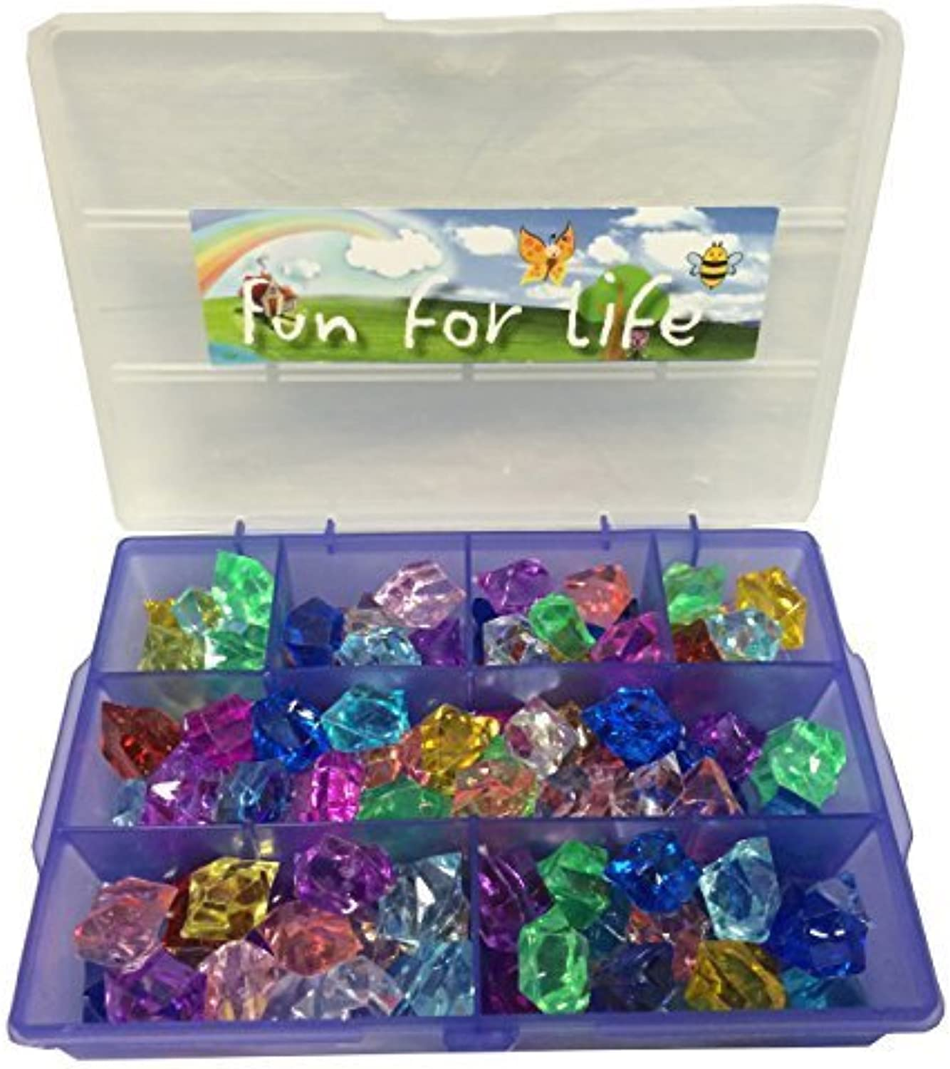 Bulk Pirate Jewels and Gem, Approx over 100 pieces and lila Grape Jewels Organizer for Party Decoration, Treasure Hunting Events by Fun For Life
