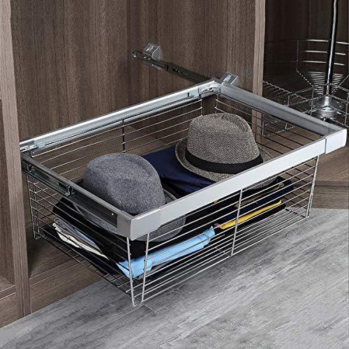 LJ Estantes de almacenamiento de gabinete de cesta de armario extraíble, cajón deslizante de acero inoxidable para armario para armarios, ahorro de espacio y almacenamiento máximo para dormitorio