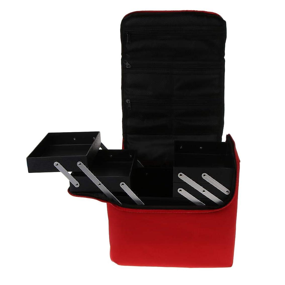 逆説ブリッジ入場Baoblaze プロ 化粧品箱 メイクボックス 化粧ケース 多機能 持ち運び 多層トレイ 大容量 - 赤