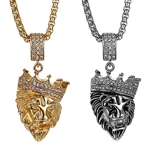 JewelryWe 2pcs Collar Hip Hop Colgante Grande de Leon, Acero Inoxidable Collar de Color Oro Cadena Punk Rock Biker, Regalo Original para Hombre