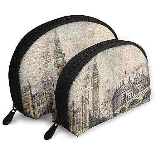 London Westminster Bridge Nostalgie Themse Tragbare Taschen Kosmetiktasche Kulturbeutel Tragbare Multifunktions-Reisetaschen mit Reißverschluss