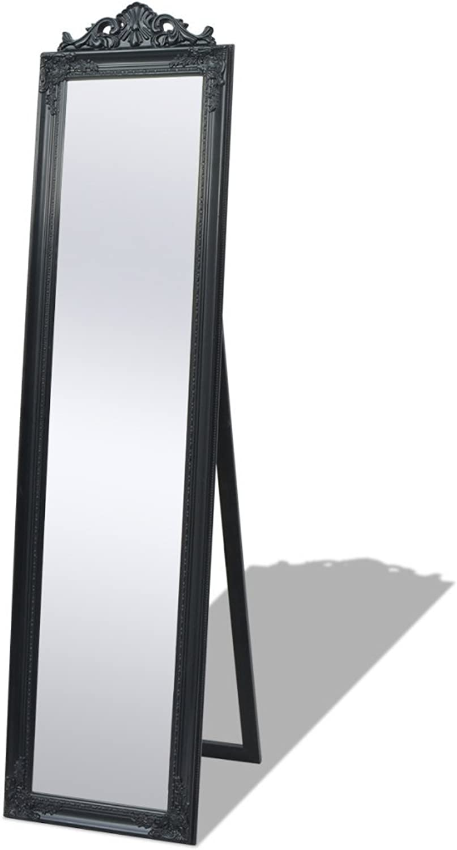 Festnight Free-Standing Mirror Floor Mirror Dressing Mirror Bedroom Furniture Baroque Style 160x40 cm Black