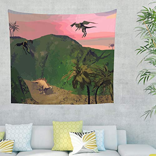 LAOAYI Dinosaurier Tapestry Wall Hanging Comforter, Landschaft Tapisserie Dekoration für Wohnzimmer Schlafzimmer Wohnheim Decor White 150x130cm