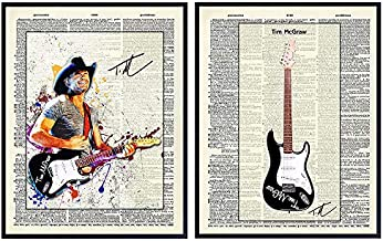Tim McGraw and Guitar Unframed Wall Art Prints - Set of Two - Great Gift for Music, Rock n Roll and Country Music Fans - Cool Home Decor - Ready to Frame (8x10) Vintage Photos