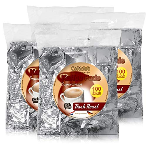 4x Cafeclub Dark Roast Kaffeepads Megabeutel je 100 stk. dunkle Röstung einzeln verpackt