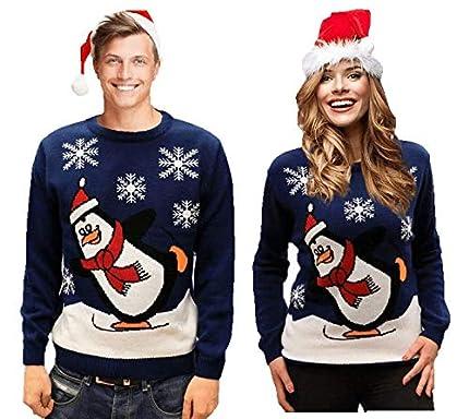 Christmas Jumper - Skating Penguin Royal Blue - Mens Ladies Unisex-XX-Large