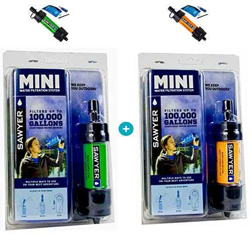 Sawyer Mini PointONE Wasserfilter für Outdoor Camping Wasseraufbereitung (Grün & Orange)
