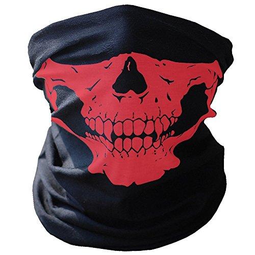 3X Premium Multifunktionstuch | Sturmmaske | Bandana | Schlauchtuch | Halstuch mit Totenkopf- Skelettmasken für Motorrad Fahrrad Ski Paintball Gamer Karneval Kostüm Skull Maske … (Weiss/Grün/Rot) - 3