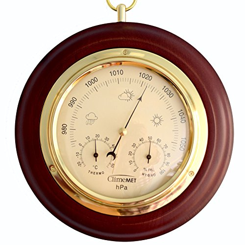 ClimeMET CM4012 Traditional Mahogany Combined Forecaster and...