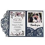 Dream Planner CW0008 Invitations de Mariage avec enveloppes pour Invitations de Mariage (Bleu Marin, 50pcs)