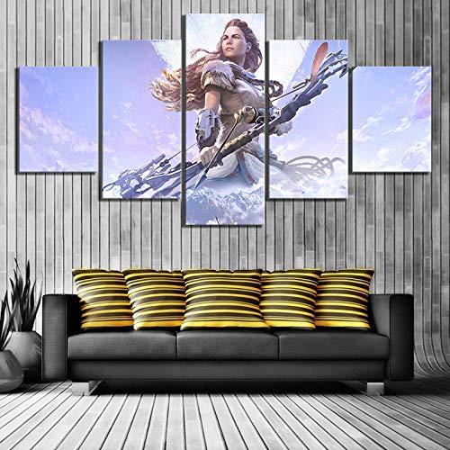 sakkdaull 5 stuks HD Fantasy Art vrouw boogschutter foto's Horizon Zero Dawn spel video poster muursticker kunst muurkunst